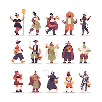Establecer mezcla de personas de raza en diferentes disfraces de pie juntos feliz celebración de la fiesta de halloween concepto plana ilustración vectorial de longitud completa