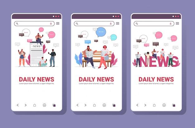 Establecer mezcla de personas de raza leyendo periódicos y discutiendo el concepto de comunicación de burbujas de chat de noticias diarias. colección de pantallas de teléfonos inteligentes espacio de copia de longitud completa ilustración horizontal
