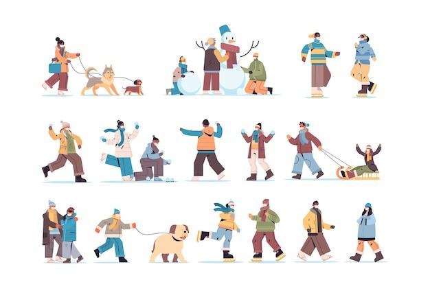 Establecer mezcla personas de raza en máscaras caminando al aire libre hombres mujeres divirtiéndose en invierno actividades al aire libre coronavirus concepto de cuarentena ilustración horizontal