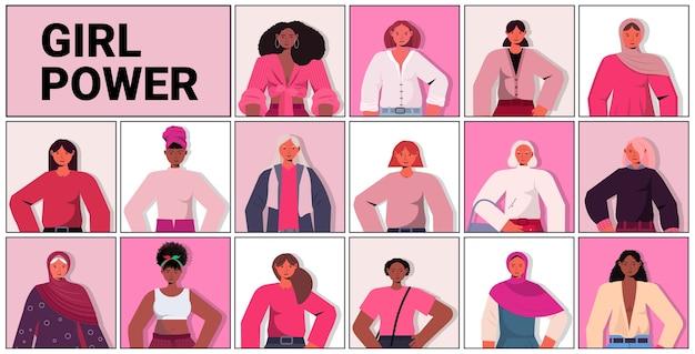 Establecer mezcla raza chicas avatares movimiento de empoderamiento femenino poder de las mujeres unión de feministas concepto horizontal retrato ilustración vectorial