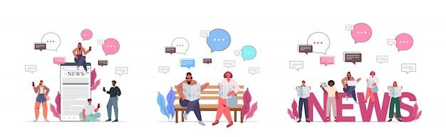 Establecer mezcla raza gente leyendo periódicos discutiendo noticias diarias concepto de comunicación de burbuja de chat