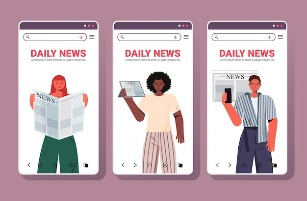 Establecer mezcla raza gente leyendo periódicos noticias diarias prensa concepto de medios de comunicación masiva pantallas de teléfonos inteligentes colección retrato espacio copia horizontal ilustración