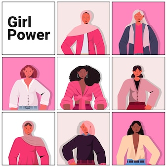 Establecer mezcla raza niñas avatares movimiento de empoderamiento femenino poder de las mujeres unión de feministas concepto retrato ilustración vectorial