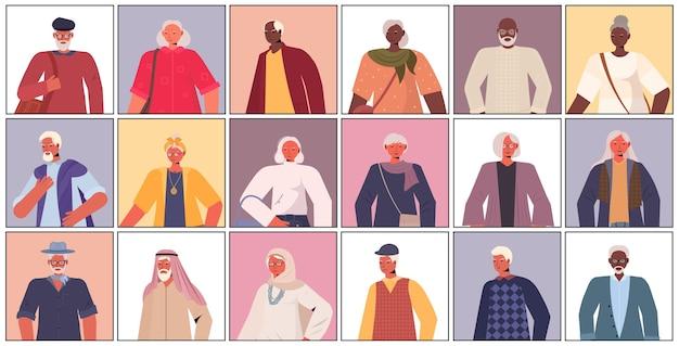 Establecer mezcla raza viejos hombres mujeres en ropa casual de moda senior femenino masculino personajes de dibujos animados colección vertical vertical
