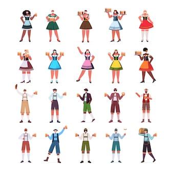 Establecer mezclar personas de raza en máscaras médicas sosteniendo jarras de cerveza celebración de la fiesta de oktoberfest concepto de cuarentena de coronavirus hombres mujeres colección de ropa tradicional