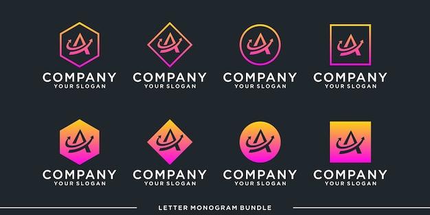 Establecer monograma una plantilla de diseño de logotipo