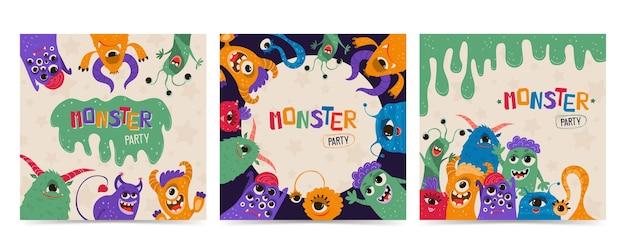 Establecer monstruos de niños lindos en estilo de dibujos animados. plantilla de invitación a fiesta con personajes divertidos.