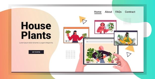 Establecer a las mujeres cuidando de las plantas de interior amas de casa de raza mixta discutiendo durante la videollamada en el navegador web windows vertical copia espacio
