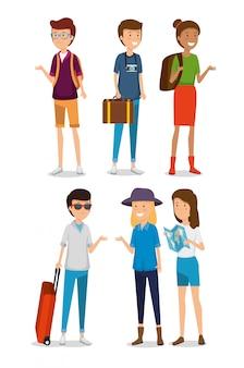 Establecer mujeres y hombres turistas con equipaje de viaje