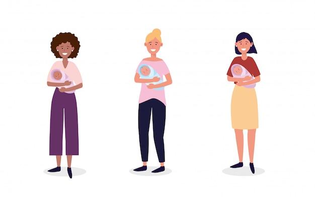 Establecer las mujeres madre con sus hijos bebés lindos