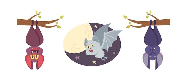 Establecer murciélagos lindos, animales cómicos vampiros, personajes de halloween, personajes divertidos de dibujos animados con bozal sonriente colgar boca abajo o volar aislado sobre fondo blanco. colección de iconos de ilustración vectorial