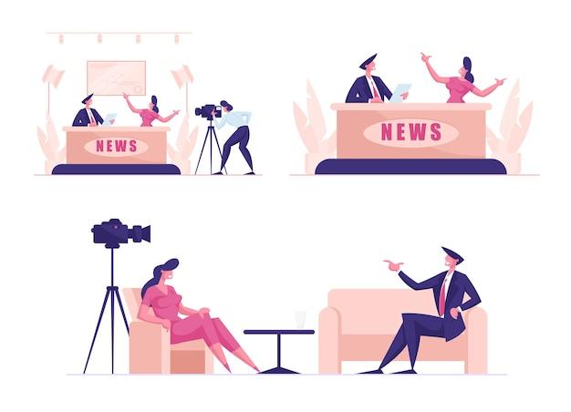 Establecer noticias en vivo en producción de radiodifusión, invitado en estudio