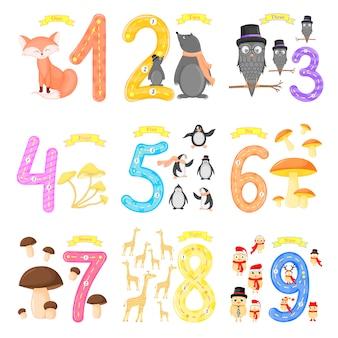 Establecer el número de niños flashcard de rastreo