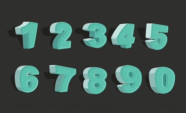 Establecer números de dibujos animados 3d