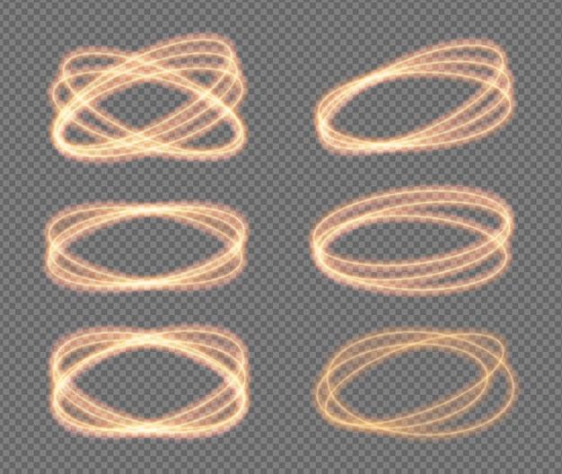Establecer o círculos de neón de luz de fuego vector efecto de destello de resplandor de brillo dorado brillante