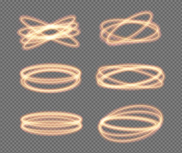 Establecer o círculos de neón de luz de fuego vector espumoso brillo de oro brillo efecto de llamarada espiral giro