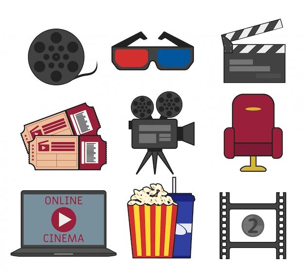 Establecer objeto de cine en estilo plano