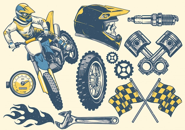 Establecer objeto vintage de motocross dibujado a mano