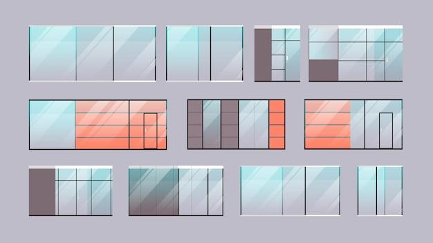 Establecer oficina vidrio ventanas colección ilustración horizontal