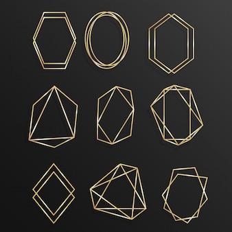 Establecer oro de arte de línea de poliedro de marco geométrico
