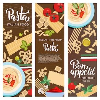 Establecer ot 3 pancartas de comida italiana con letras de pasta a mano
