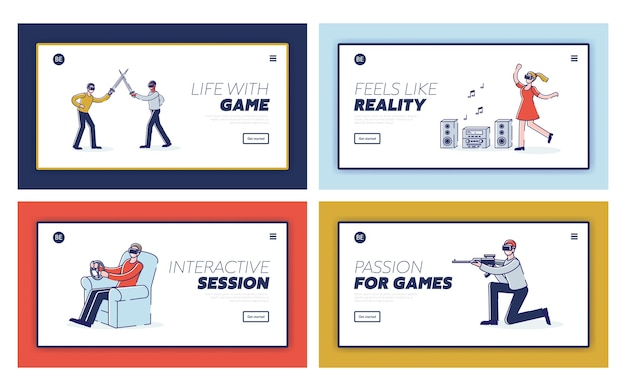 Establecer páginas de destino con dibujos animados de jugadores vr. tecnología de realidad virtual y simulación para el concepto de juego.