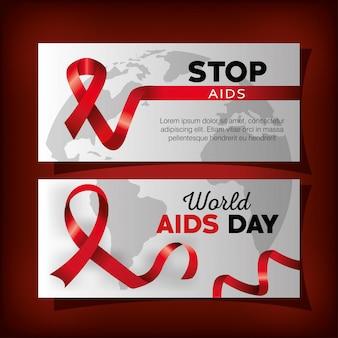 Establecer pancarta con el día mundial del sida y la cinta