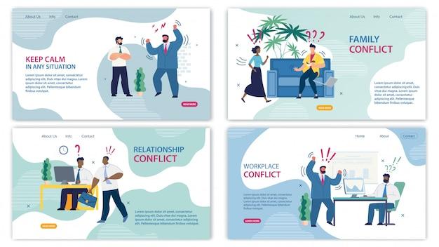Establecer pancarta informativa de dibujos animados de conflictos familiares.