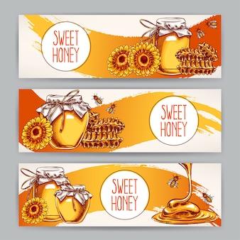 Establecer pancartas de miel horizontales de árbol af. tarros de miel, abejas, panal. ilustración dibujada a mano