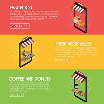Establecer pancartas de pedidos de alimentos en línea. envío y compra de comida rápida, bebidas, productos frescos. fachada isométrica de la ilustración del concepto de tienda