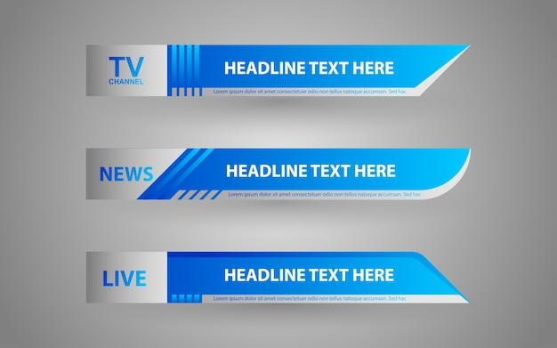 Establecer pancartas y tercios inferiores para el canal de noticias con color azul y blanco