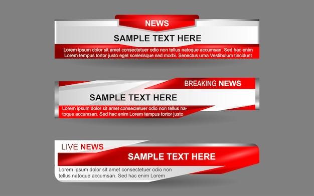 Establecer pancartas y tercios inferiores para el canal de noticias con color rojo y blanco