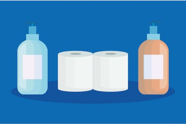 Establecer papel higiénico con iconos aislados de botella antibacteriana