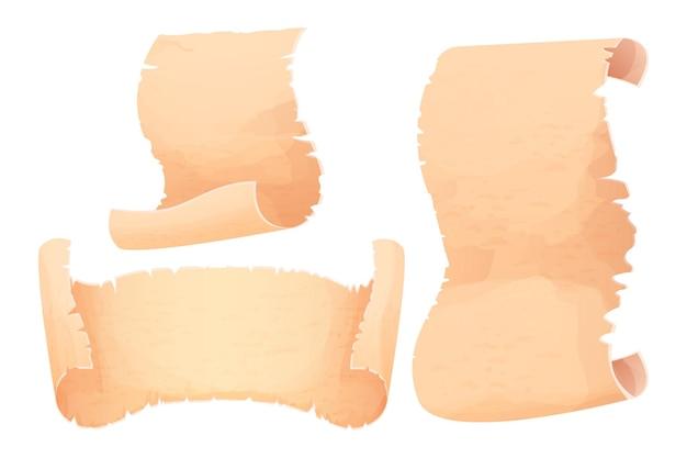 Establecer papiro rollo de pergamino papel antiguo en blanco en estilo de dibujos animados aislado sobre fondo blanco.