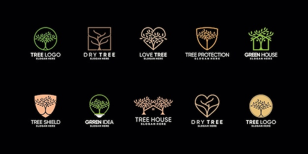 Establecer paquete de inspiración de diseño de logotipo de árbol con concepto moderno creativo vector premium