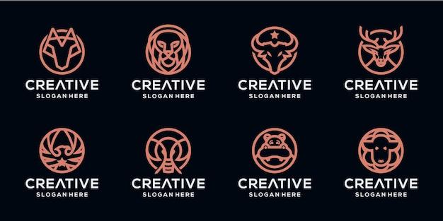 Establecer paquete de logotipo de animales monoline