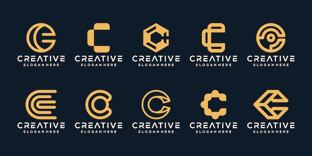 Establecer paquete moderno diseño de logotipo letra c