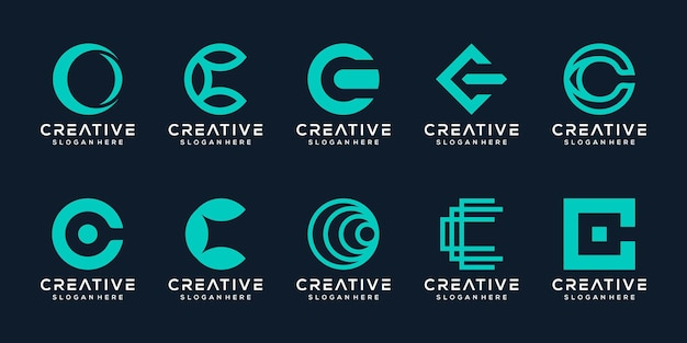 Establecer paquete monograma letra c plantilla de logotipo