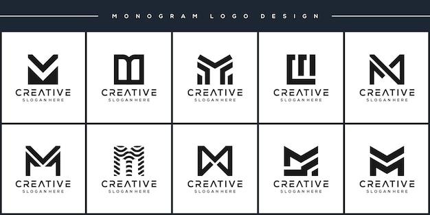 Establecer paquete monograma letra m diseño de logotipo