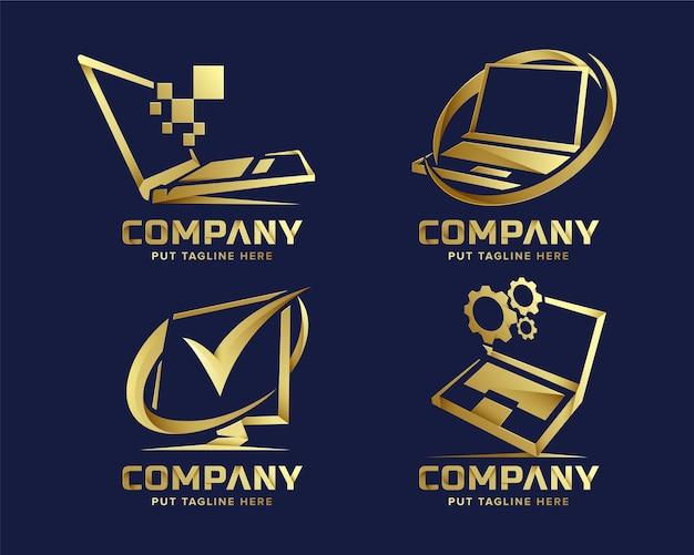 Establecer paquete de plantilla de logotipo de computadora de tecnología premium para empresa premium vector