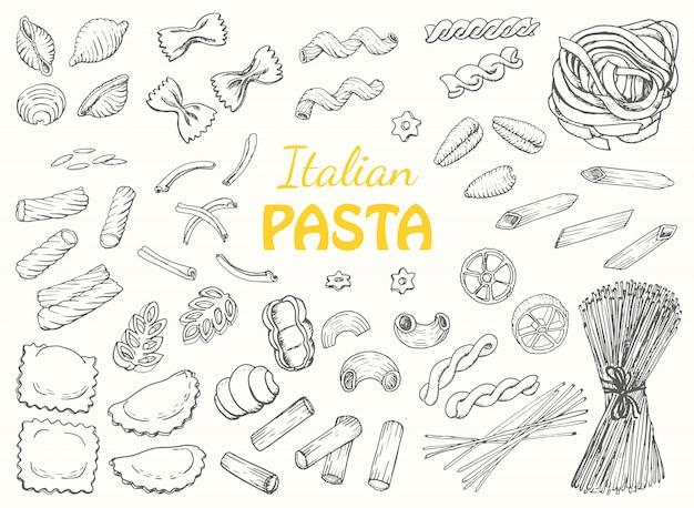 Establecer pasta italiana sobre un fondo blanco