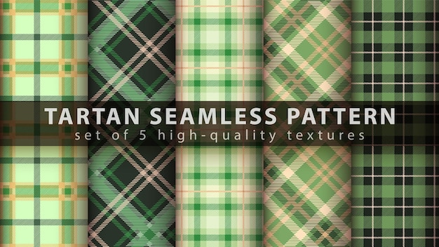 Establecer patrón sin costuras textil tartán. dibujar a mano