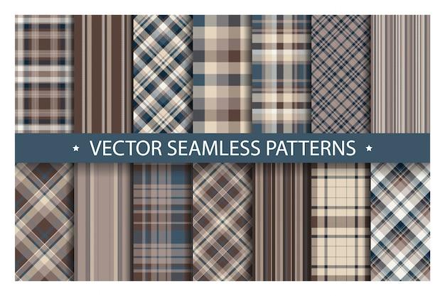 Establecer el patrón de cuadros sin costura. patrones de tartán textura de la tela. fondo geométrico a cuadros. telón de fondo de manta de rayas escocesas