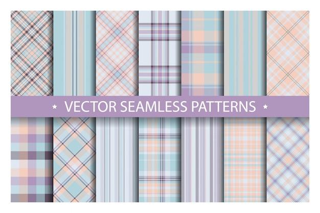 Establecer el patrón de cuadros sin costura. patrones de tartán textura de la tela.