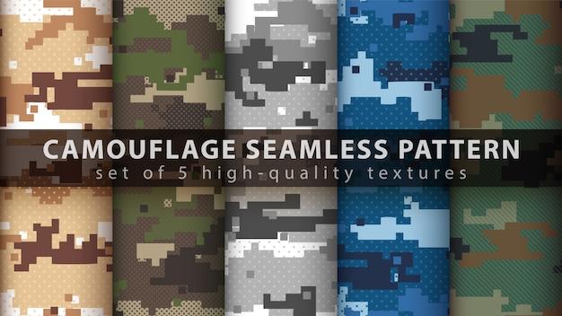 Establecer patrón transparente militar de camuflaje de píxeles