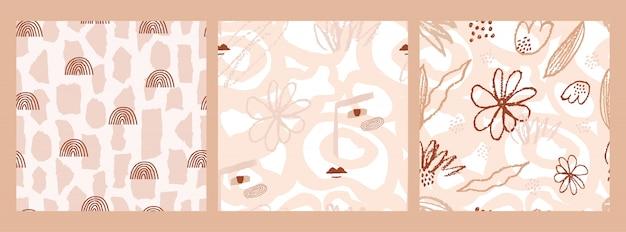 Establecer patrones abstractos sin fisuras con mano dibuja varias formas, arco iris, planta y rostro femenino.