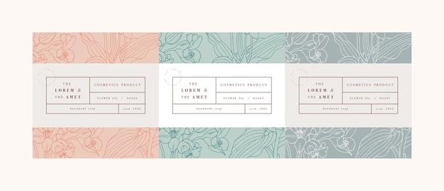 Establecer patrones para cosméticos con diseño de plantilla de etiqueta