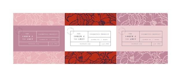 Establecer patrones para cosméticos con diseño de plantilla de etiqueta.