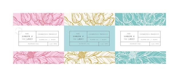 Establecer patrones para cosméticos con plantilla de etiqueta