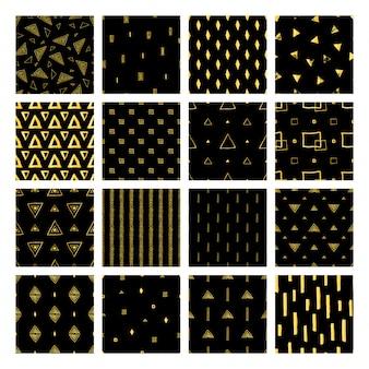 Establecer patrones sin fisuras geométricos dorados con línea, triángulo, cuadrado, rombo